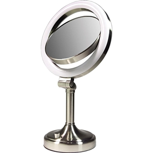 zadro dimmable sunlight vanity mirror satin nickel 10x 1x. Black Bedroom Furniture Sets. Home Design Ideas
